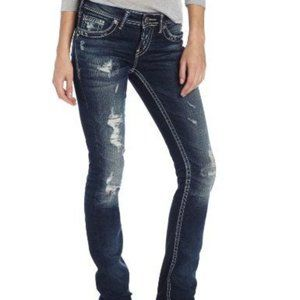 Silver Distressed Denim Jeans